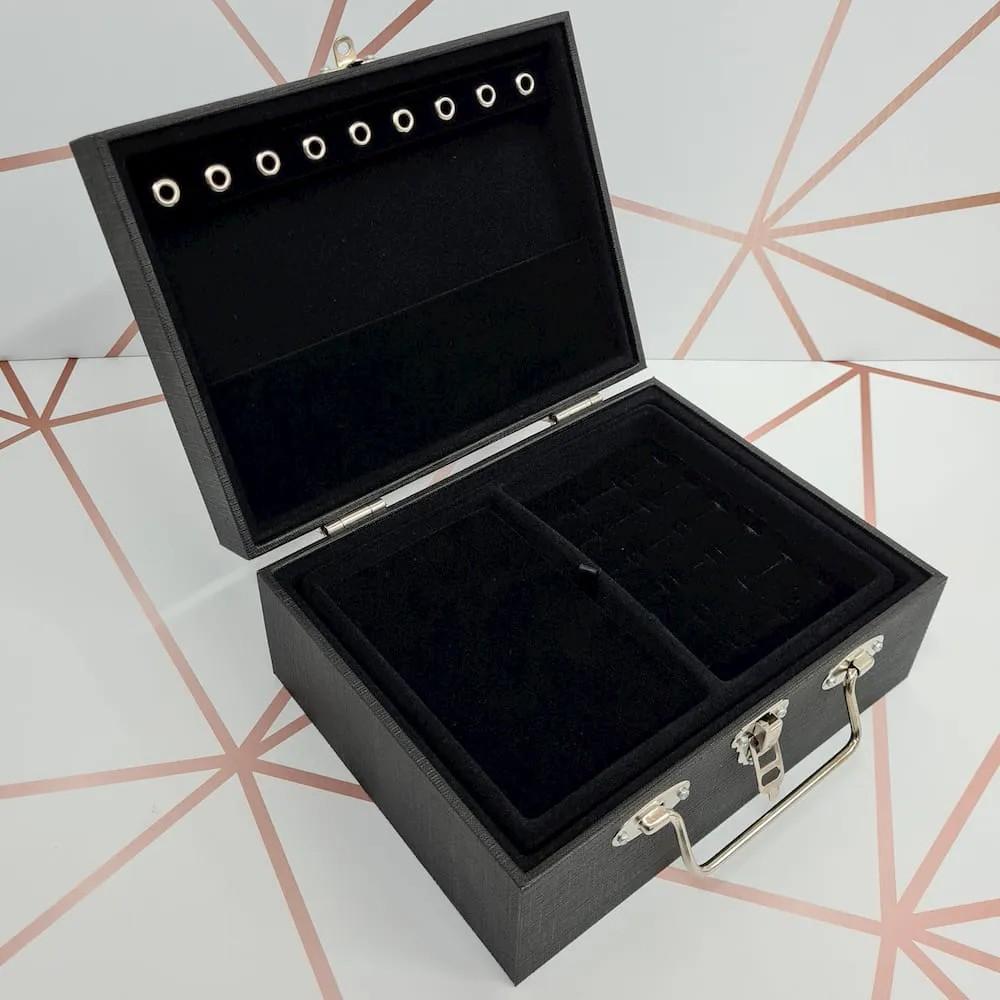 Maleta Porta-joias Pequeno Duplo Preto Linho