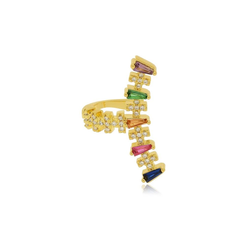 Piercing de Pressão Com 5 Zircônias Coloridas Folheado a Ouro 18k