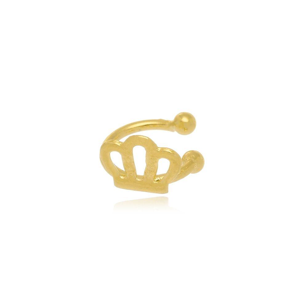 Piercing de Pressão Com Coroa Folheado a Ouro 18k