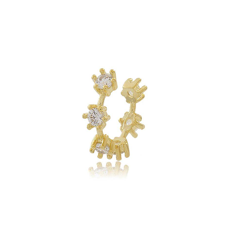 Piercing de Pressão Com Florzinha de Zircônia Folheado a Ouro 18k
