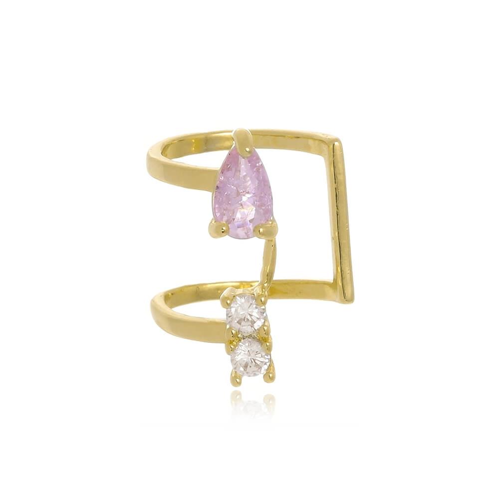 Piercing de Pressão Com Zircônias Rosa e Cristal Folheado a Ouro 18k