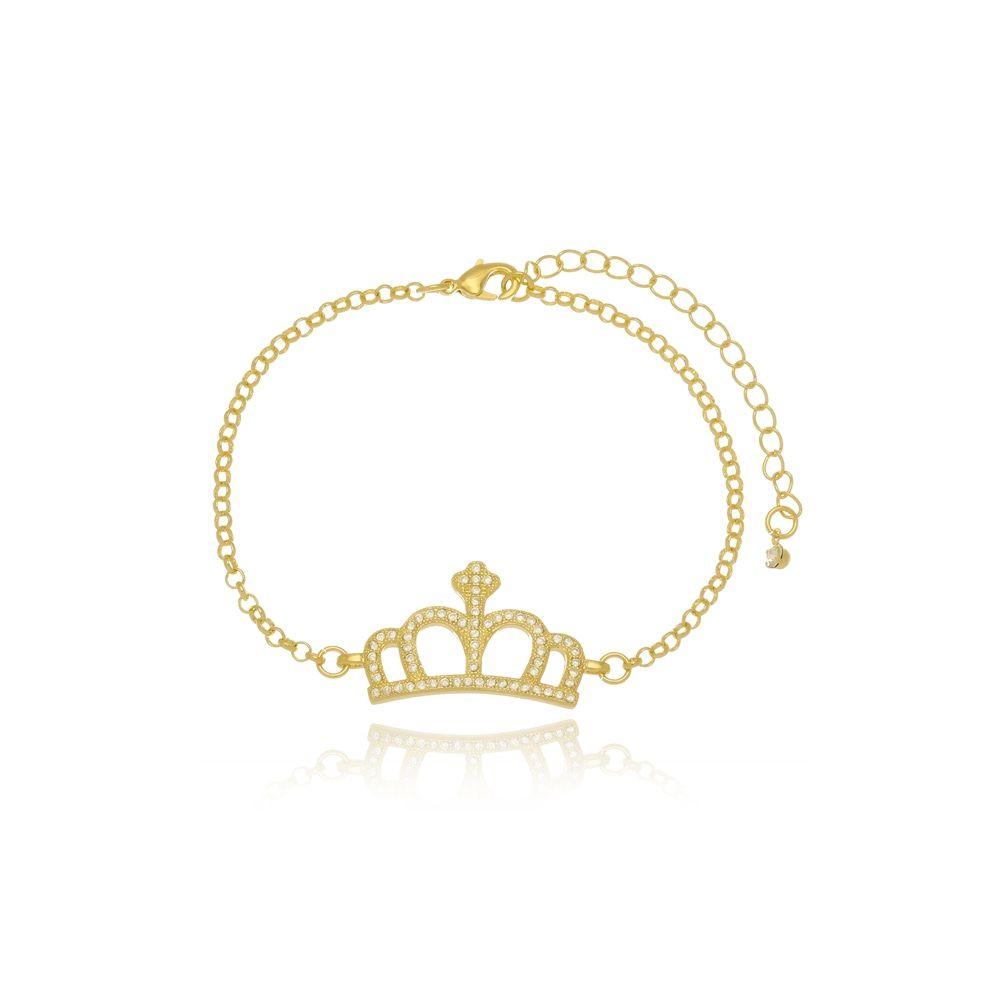 Pulseira Com Coroa Cravejada de Micro Zircônias Folheado a Ouro 18k