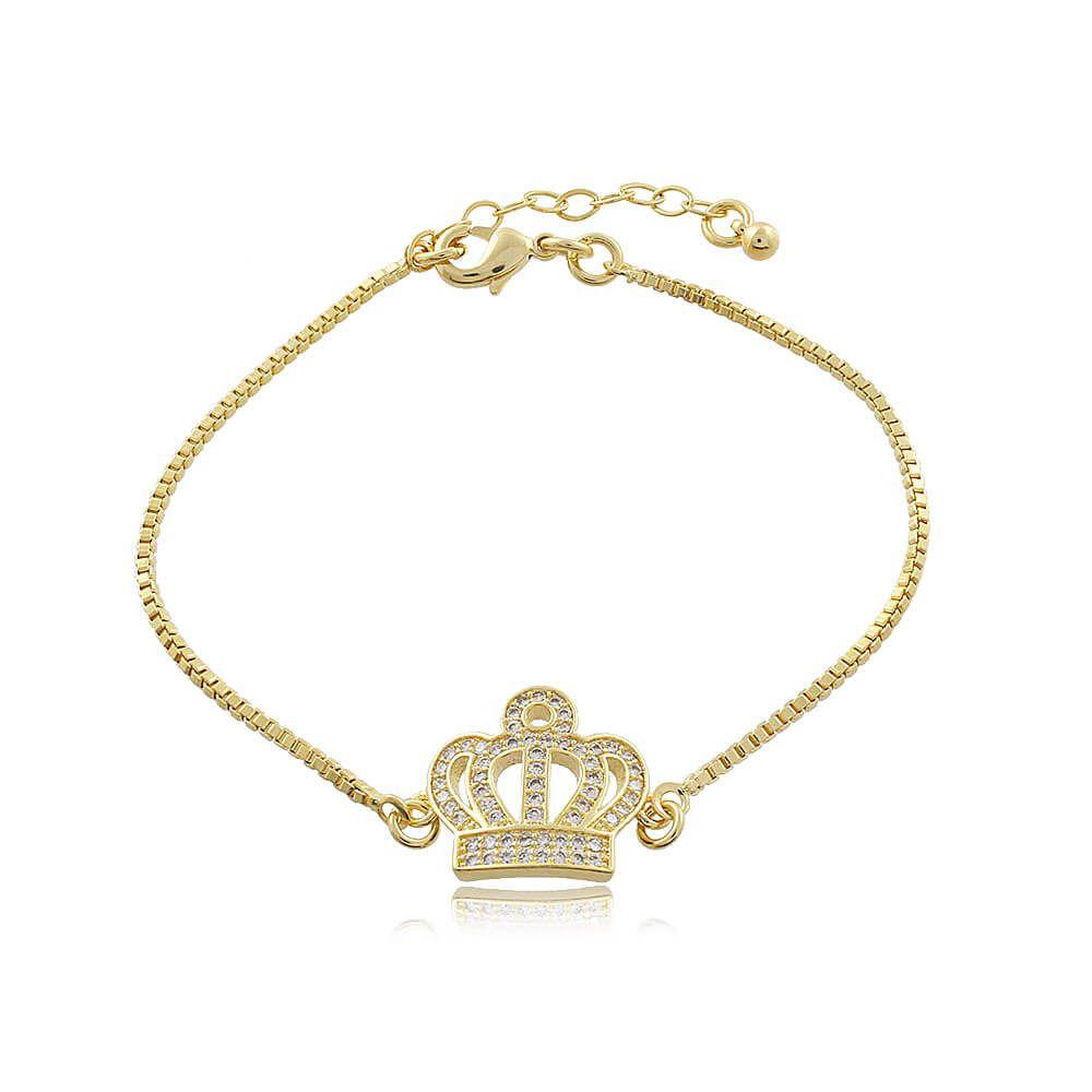 Pulseira Com Coroa de Micro Zircônias Folheado a Ouro 18k