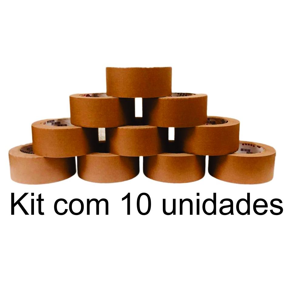 10 Rolos de Fita Adesiva Kraft 48x50