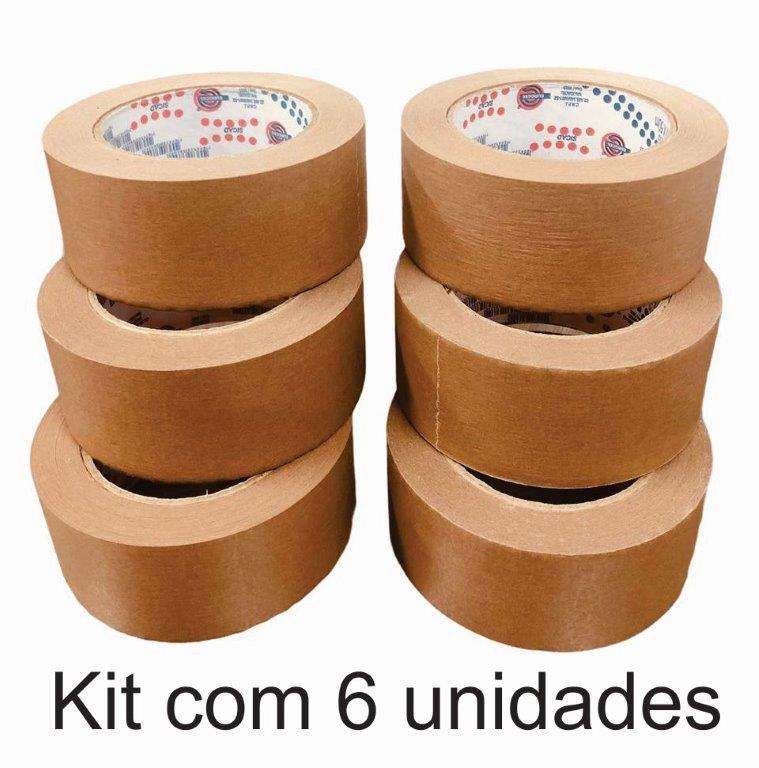 6 Rolos de Fita Adesiva Kraft 48x50