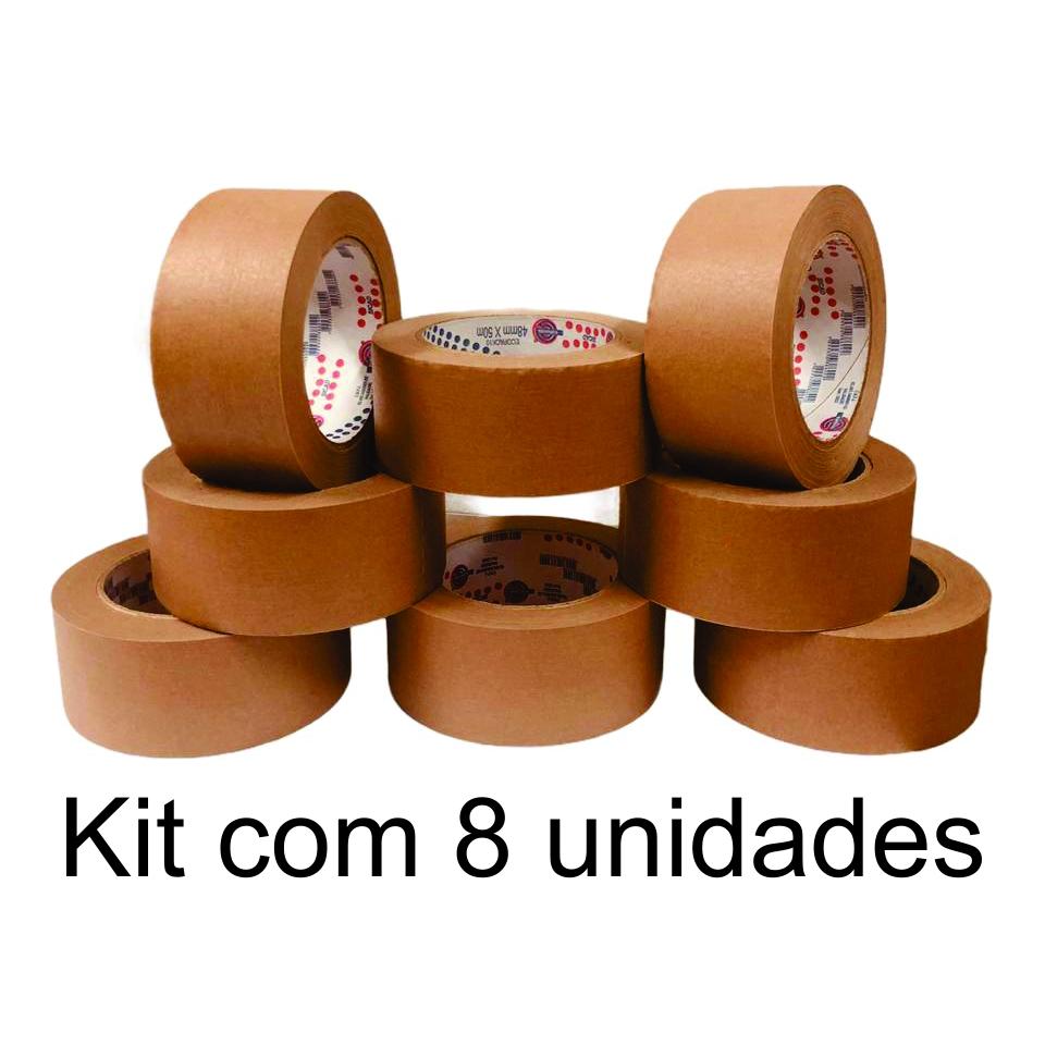 8 Rolos de Fita Adesiva Kraft 48x50