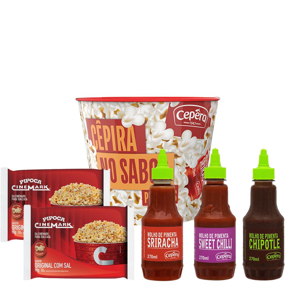 Kit CÊPIRA no sabor 3 Pimentas Cêpera Sabores e 2 Pipocas Cinemark Original