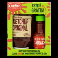 Kit Ketchup Original Sabores Cepêra 400g Grátis Molho de Pimenta Sriracha 130ml