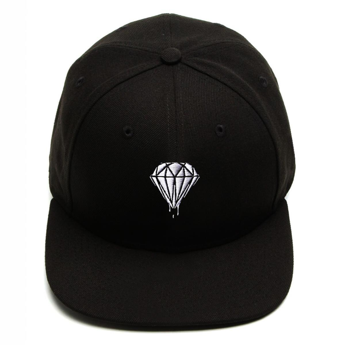 Boné Snapback Aba Reta Diamond Preto