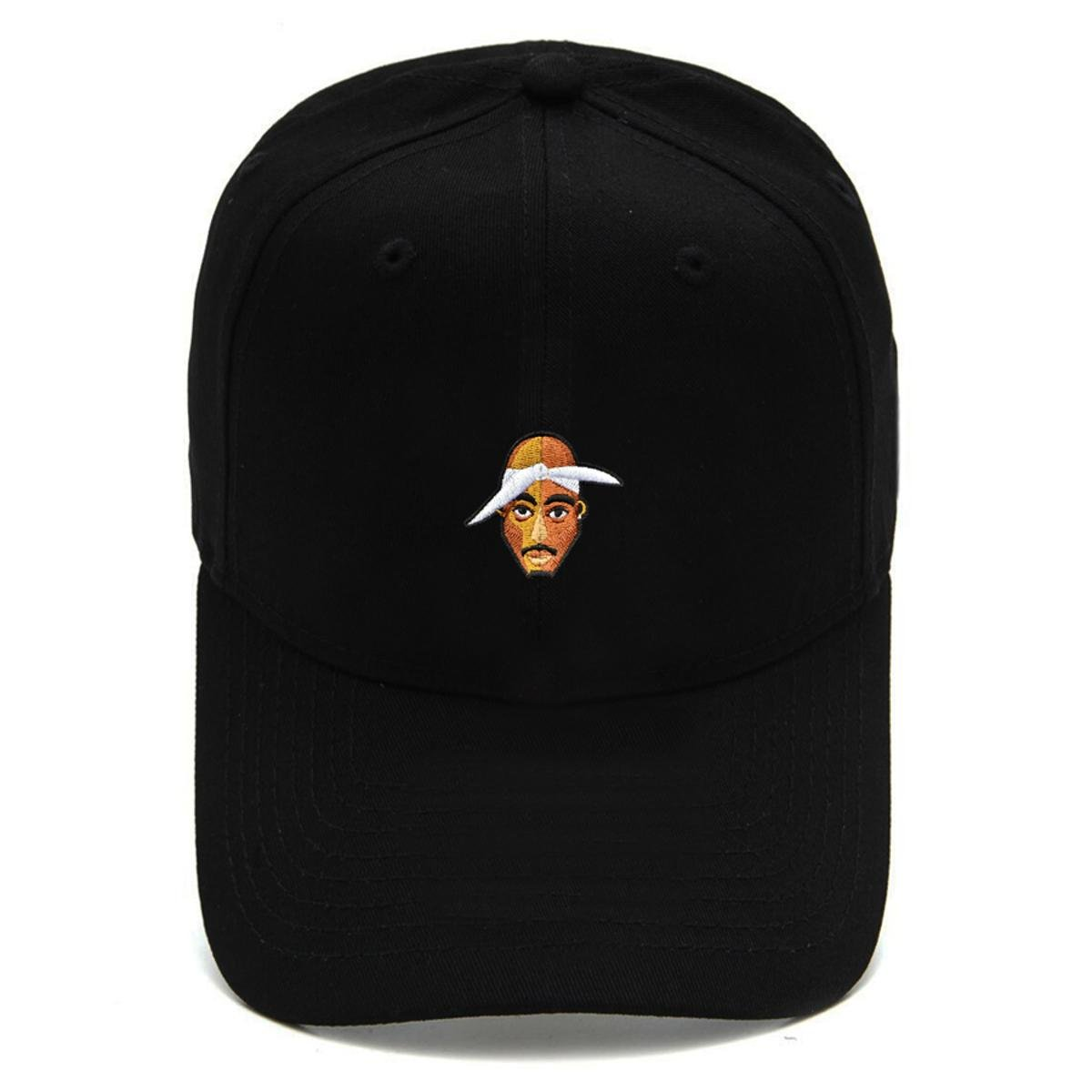 Boné Strapback Dad Hat Aba Curva Tupac Preto
