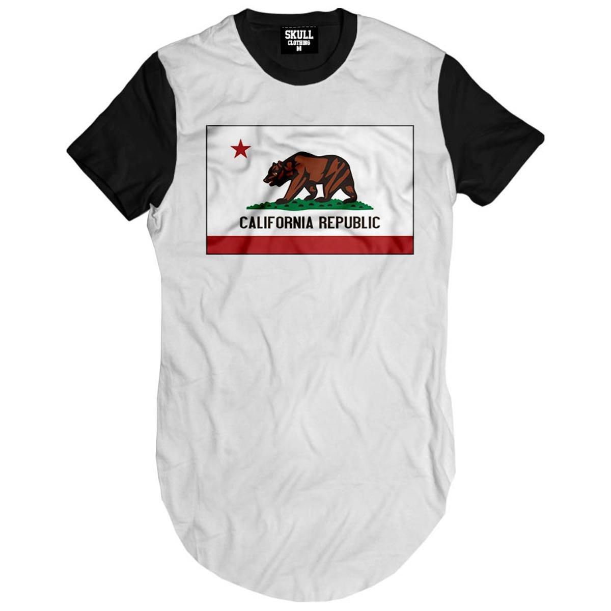 Camiseta longline California Republic Flag
