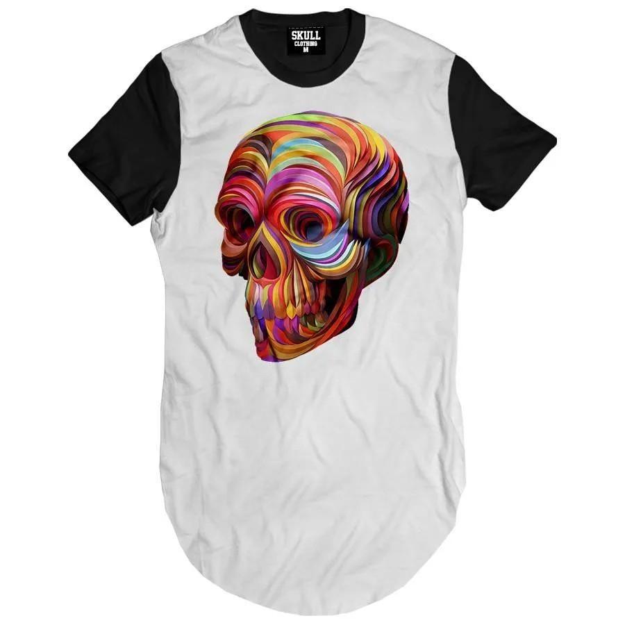 Camiseta longline Caveira Color