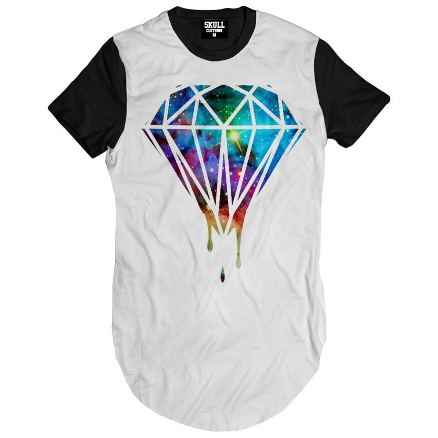Camiseta Longline Diamante Grafite