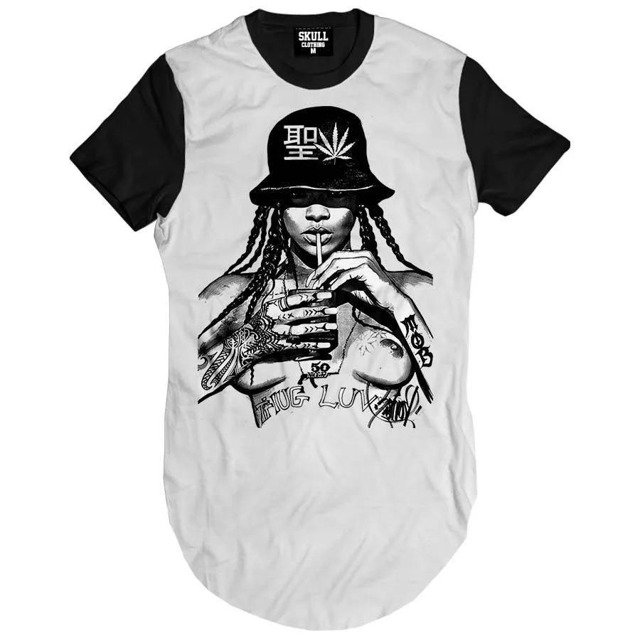 Camiseta Longline Rihanna Naked