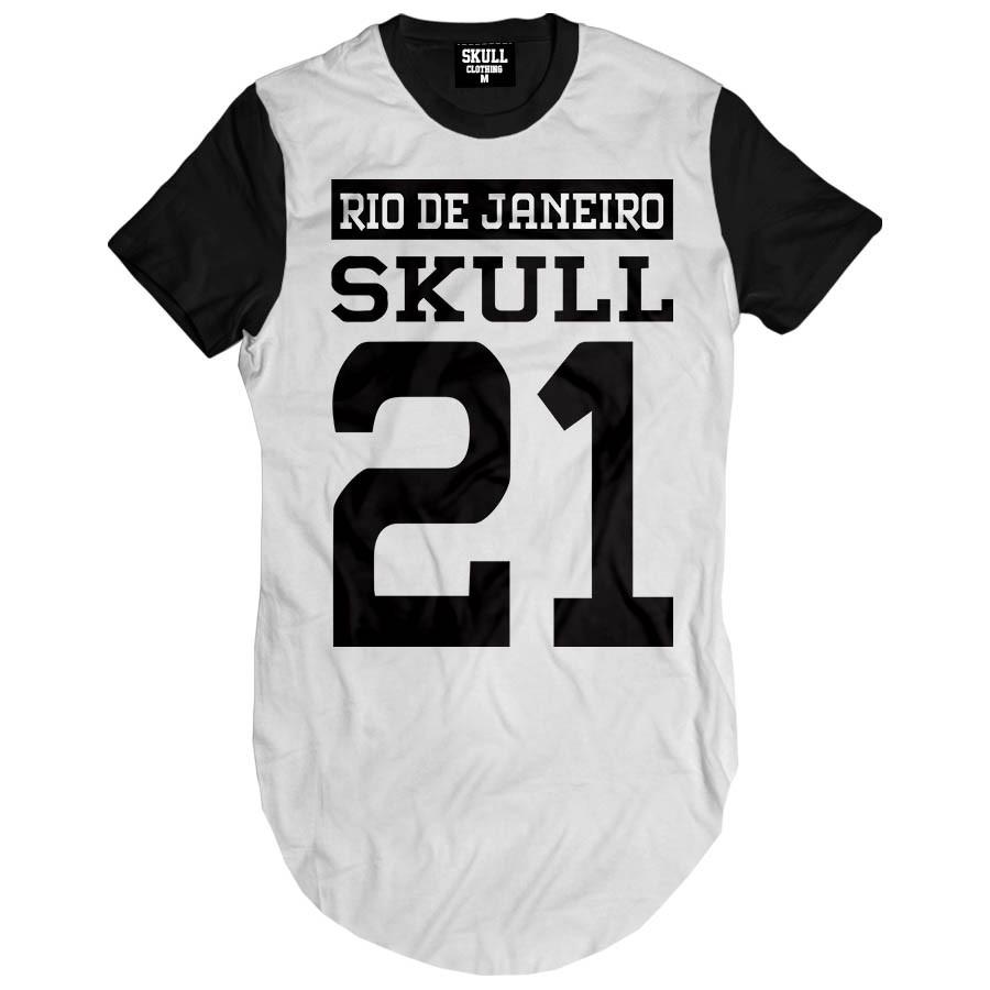 Camiseta Longline Skull Clothing RJ