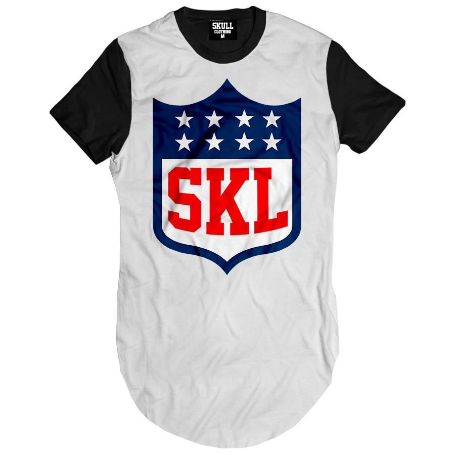 Camiseta Longline Skull League Clothing