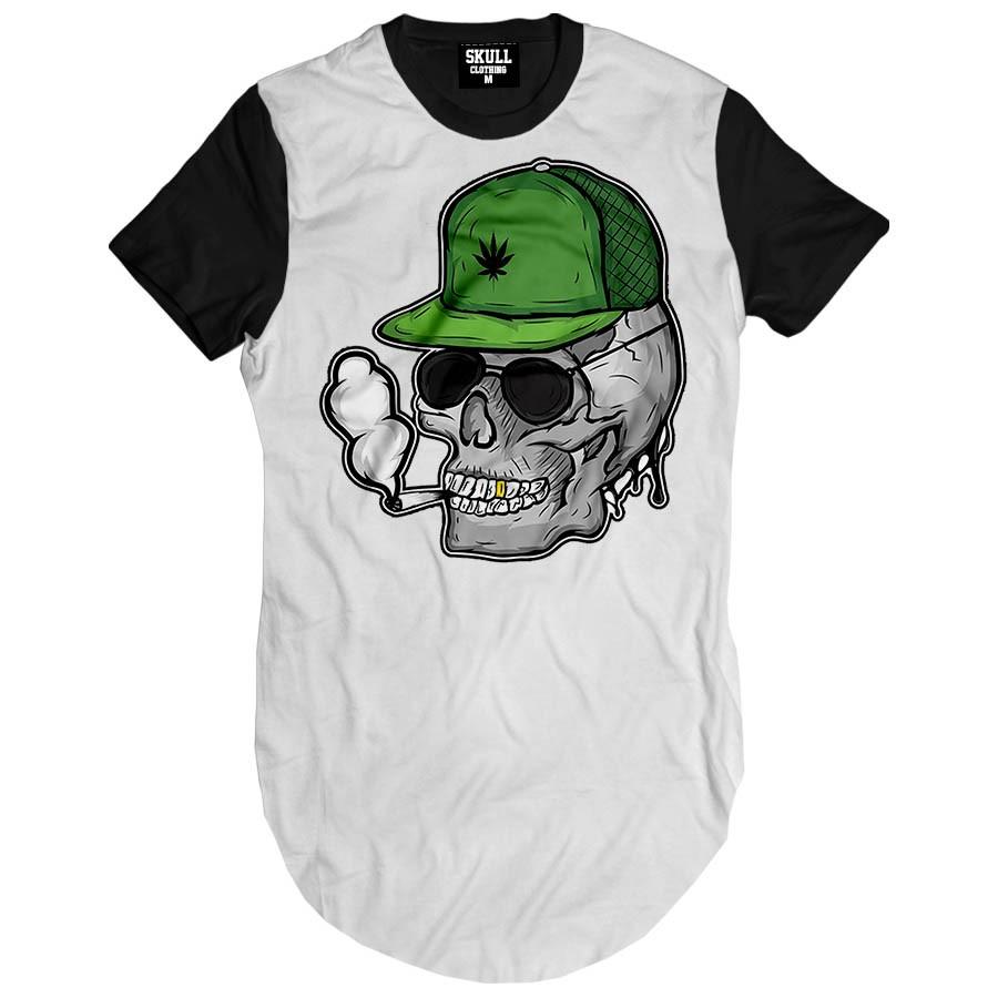 Camiseta Longline Skull Smoke Weed