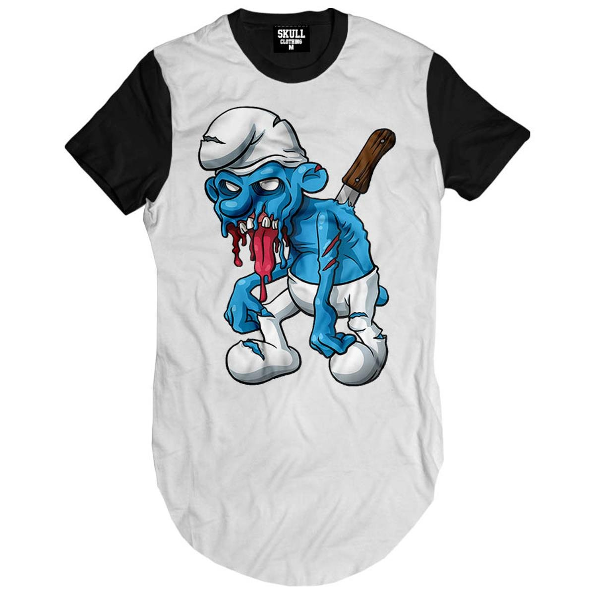 Camiseta Longline Smurf Zombie