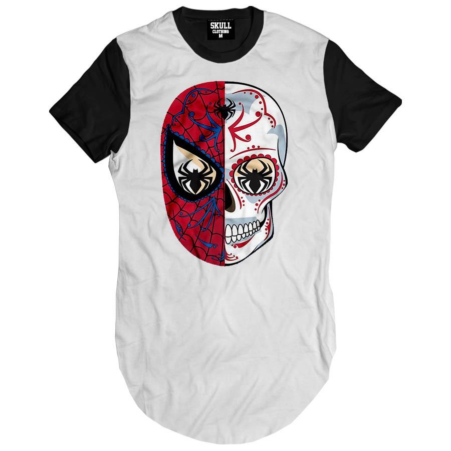 Camiseta Longline Spider Skull Mexican