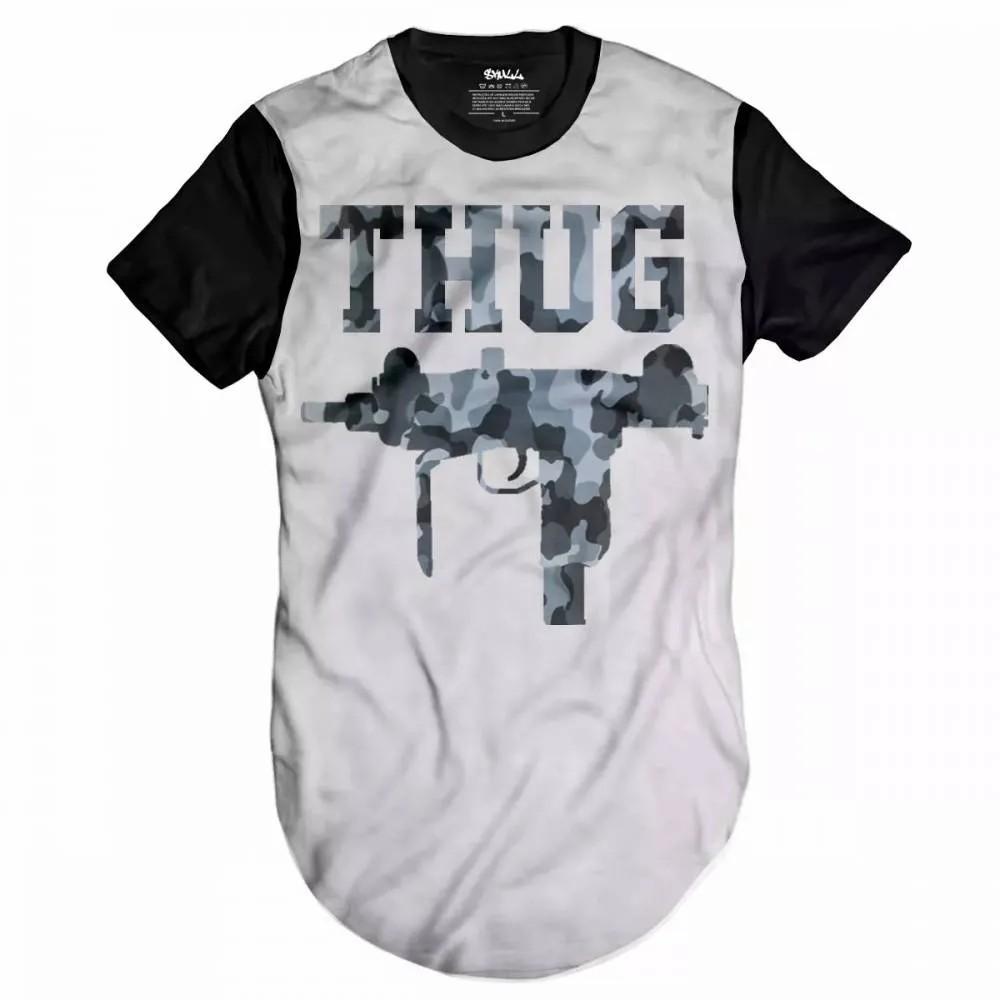 Camiseta Longline Thug Gun Camuflado