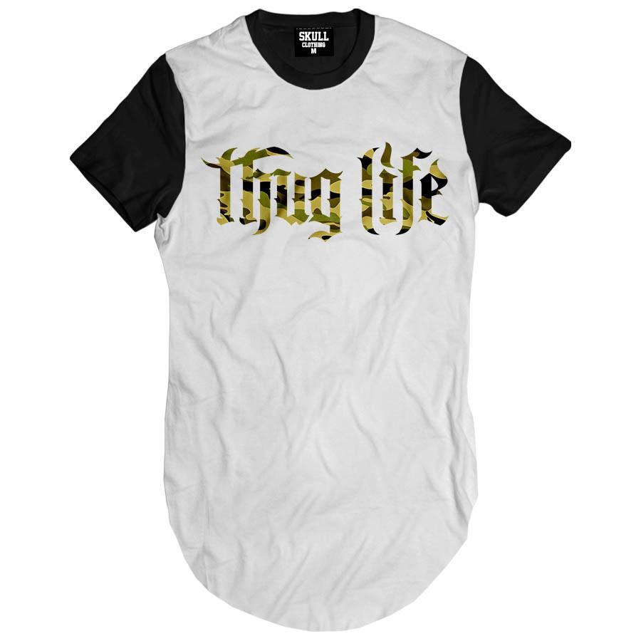Camiseta Longline Thug Life Army