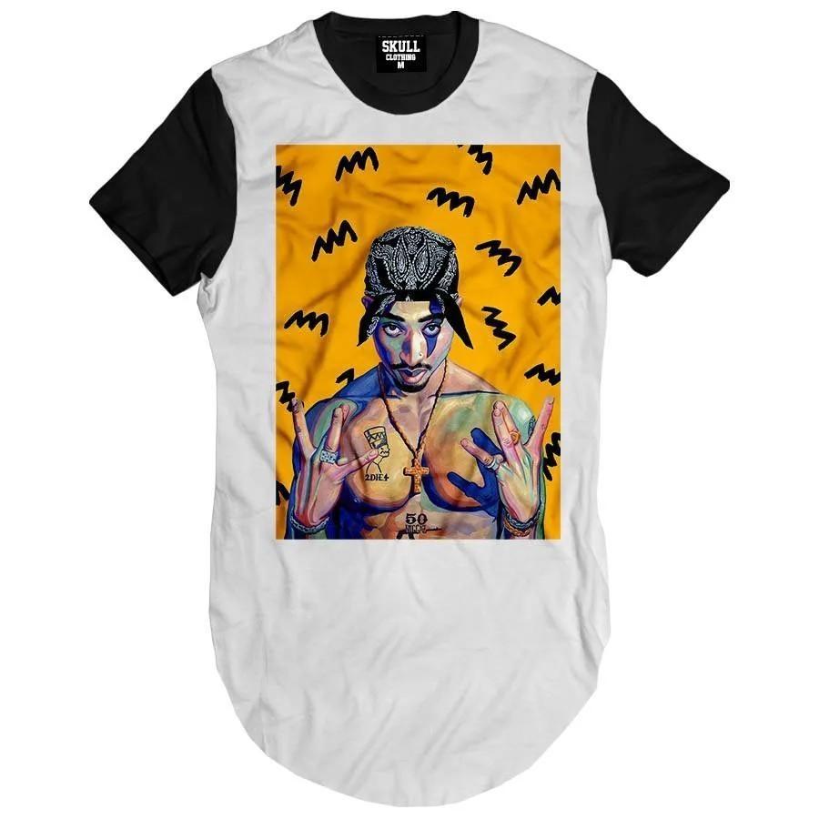 Camiseta Longline Tupac Art Yellow