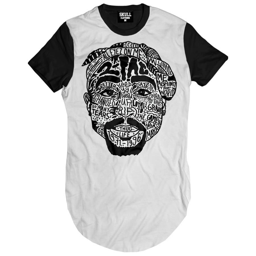 Camiseta Longline Tupac Shakur Songs