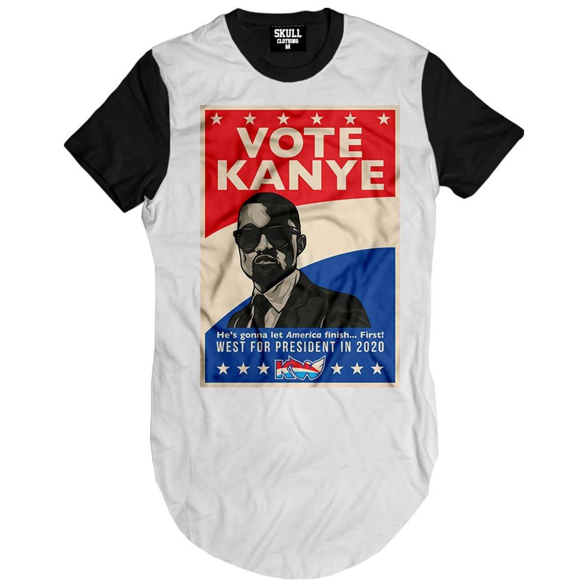 Camiseta Longline Vote Kanye West President