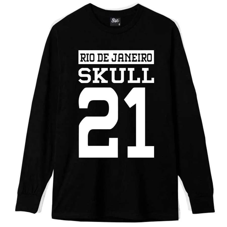Camiseta Manga Longa Skull 21