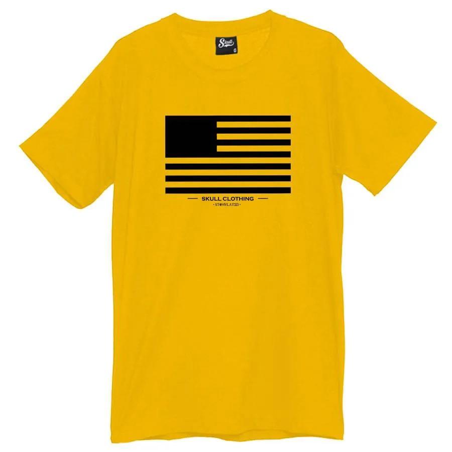 Camiseta Masculina Skull Flag Amarela