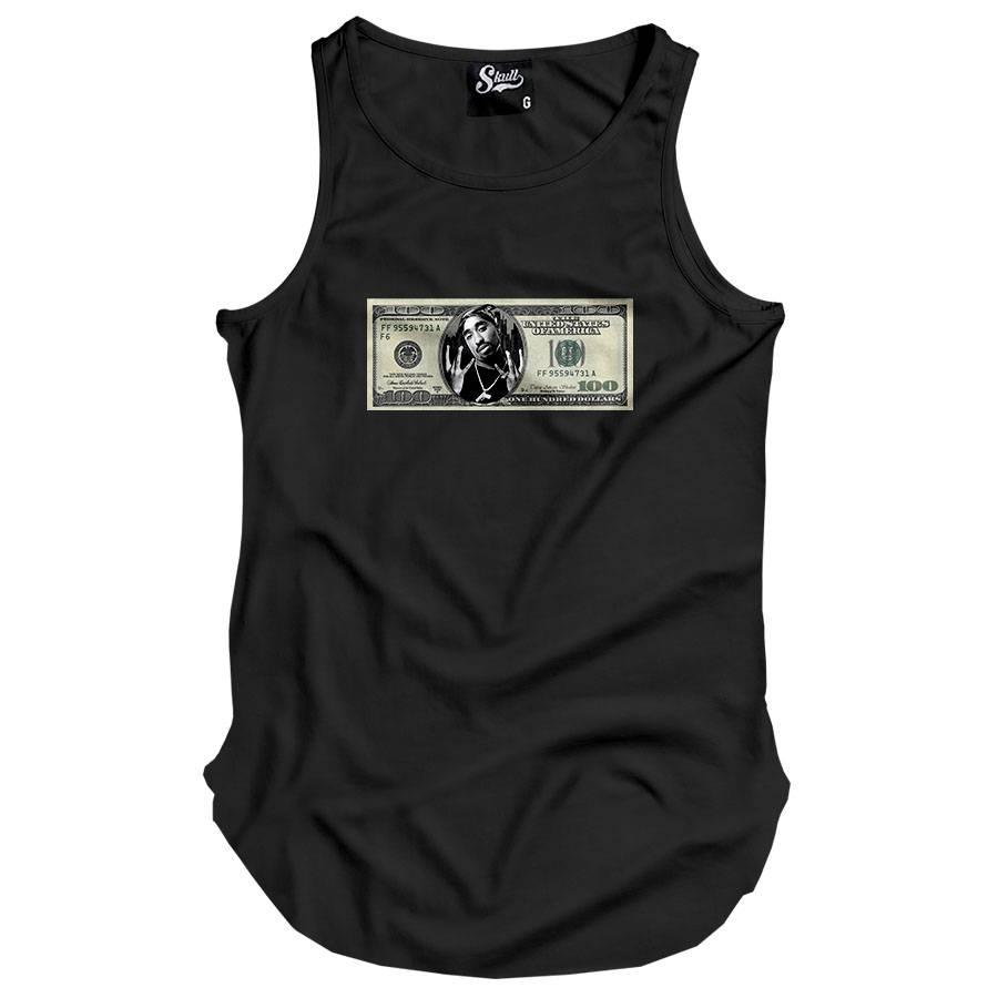 Camiseta Regata Longline Dollar Tupac