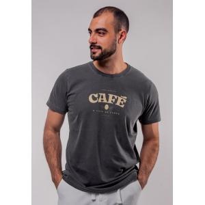 Camiseta Chumbo Estonada de Algodão Café