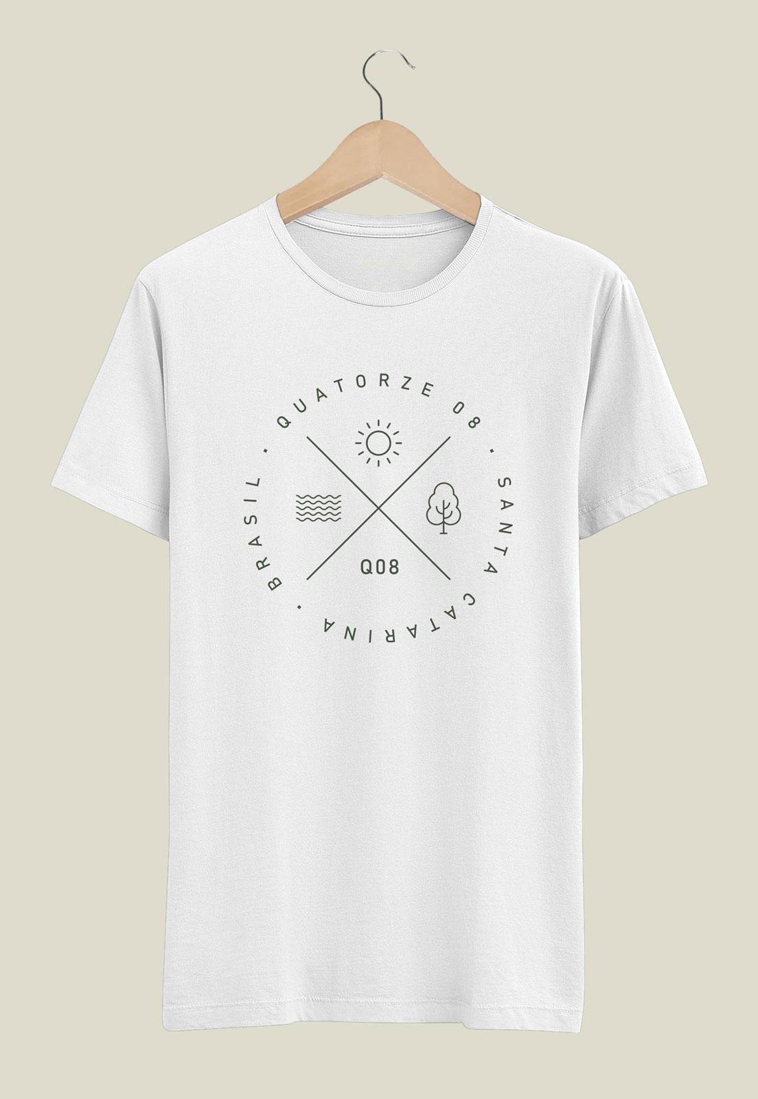 Caixa Presente Masculino - Camiseta Elementos Branca + Ecobag 100% algodão
