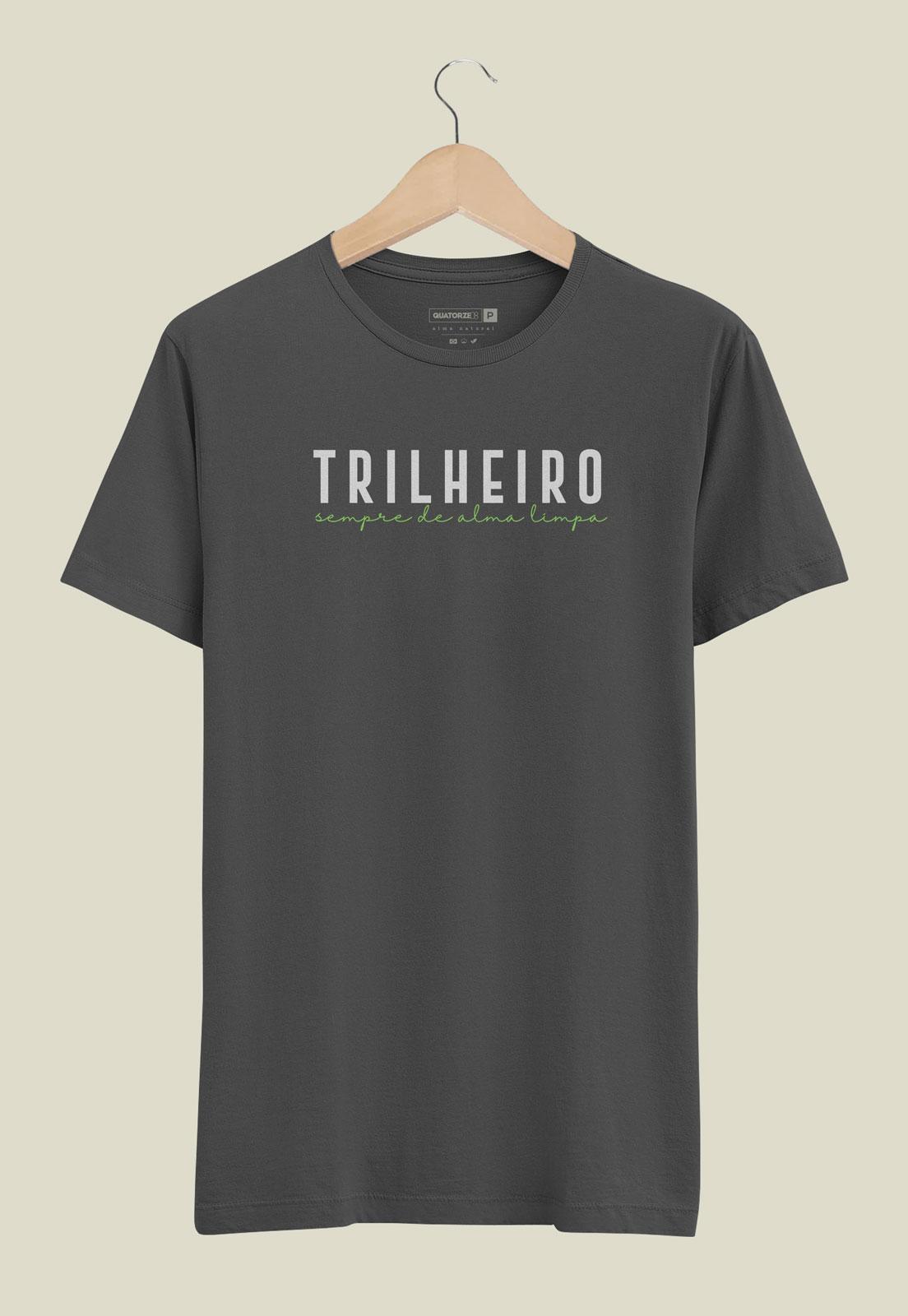 Caixa Presente Masculino - Camiseta Trilheiro Chumbo Estonada + Ecobag 100% algodão