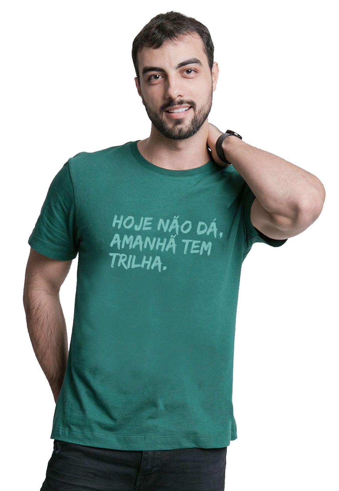 Camiseta Amanhã tem Trilha Verde Escuro