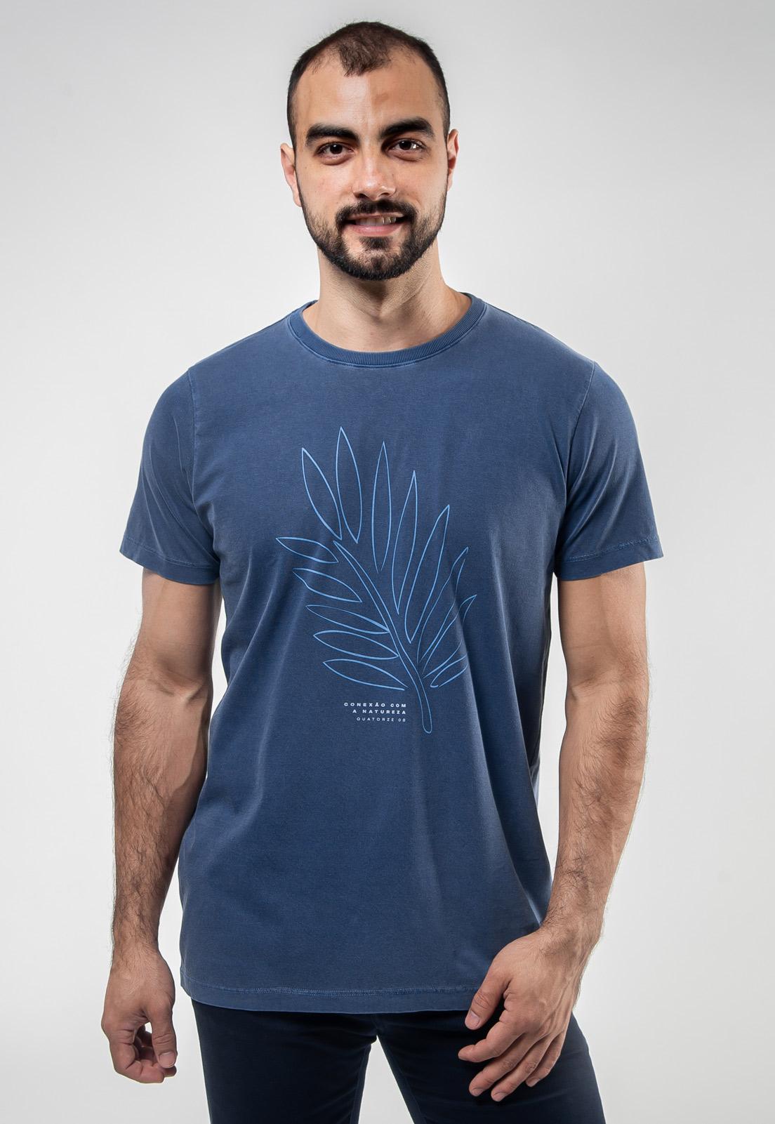 Camiseta Azul Escuro Estonada de Algodão Conexão Com a Natureza
