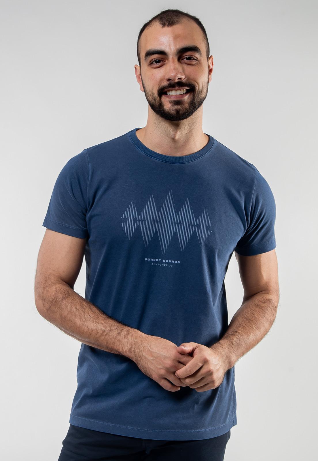 Camiseta Azul Escuro Estonada de Algodão Forest Sound
