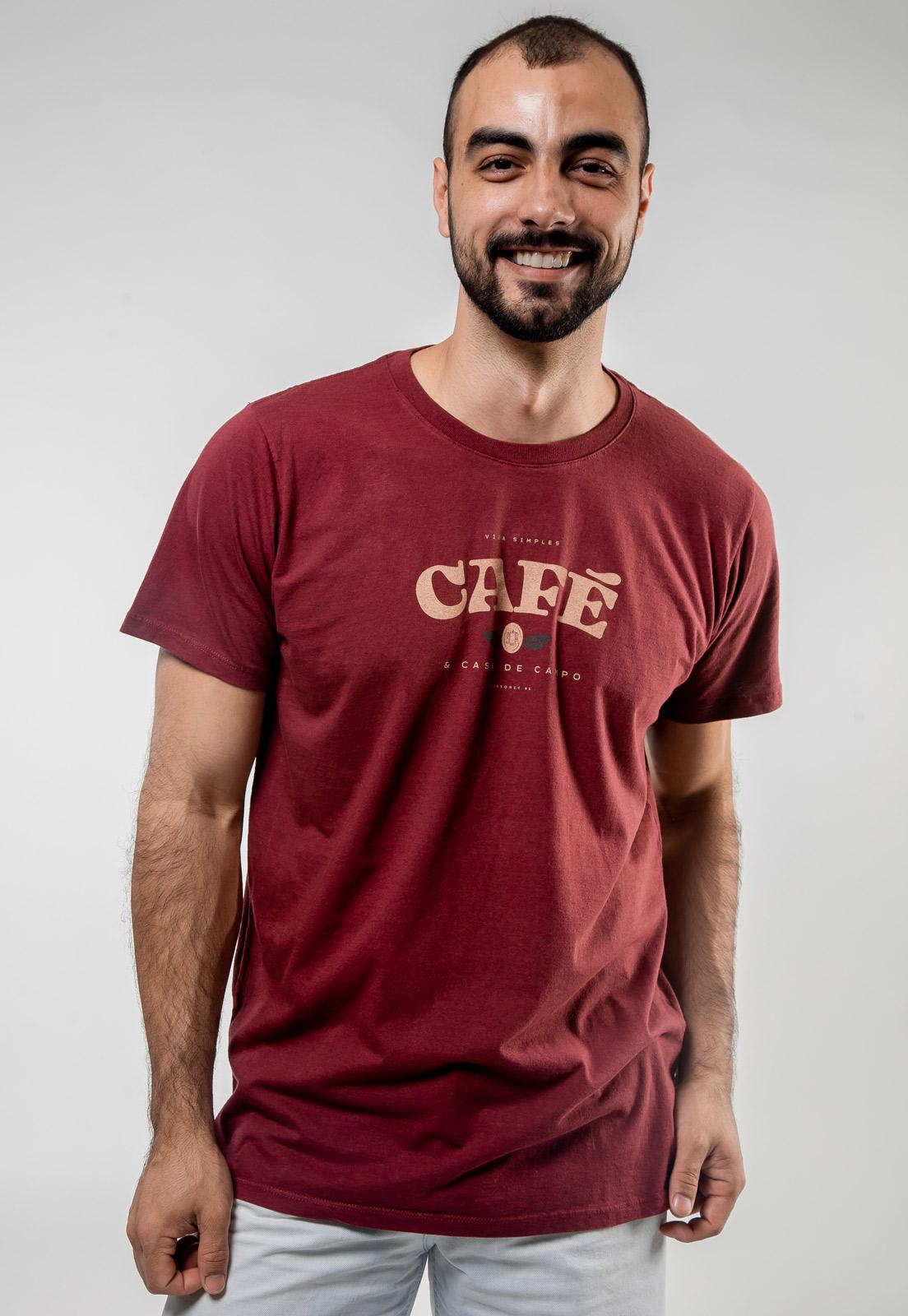 Camiseta Bordô de Algodão Café