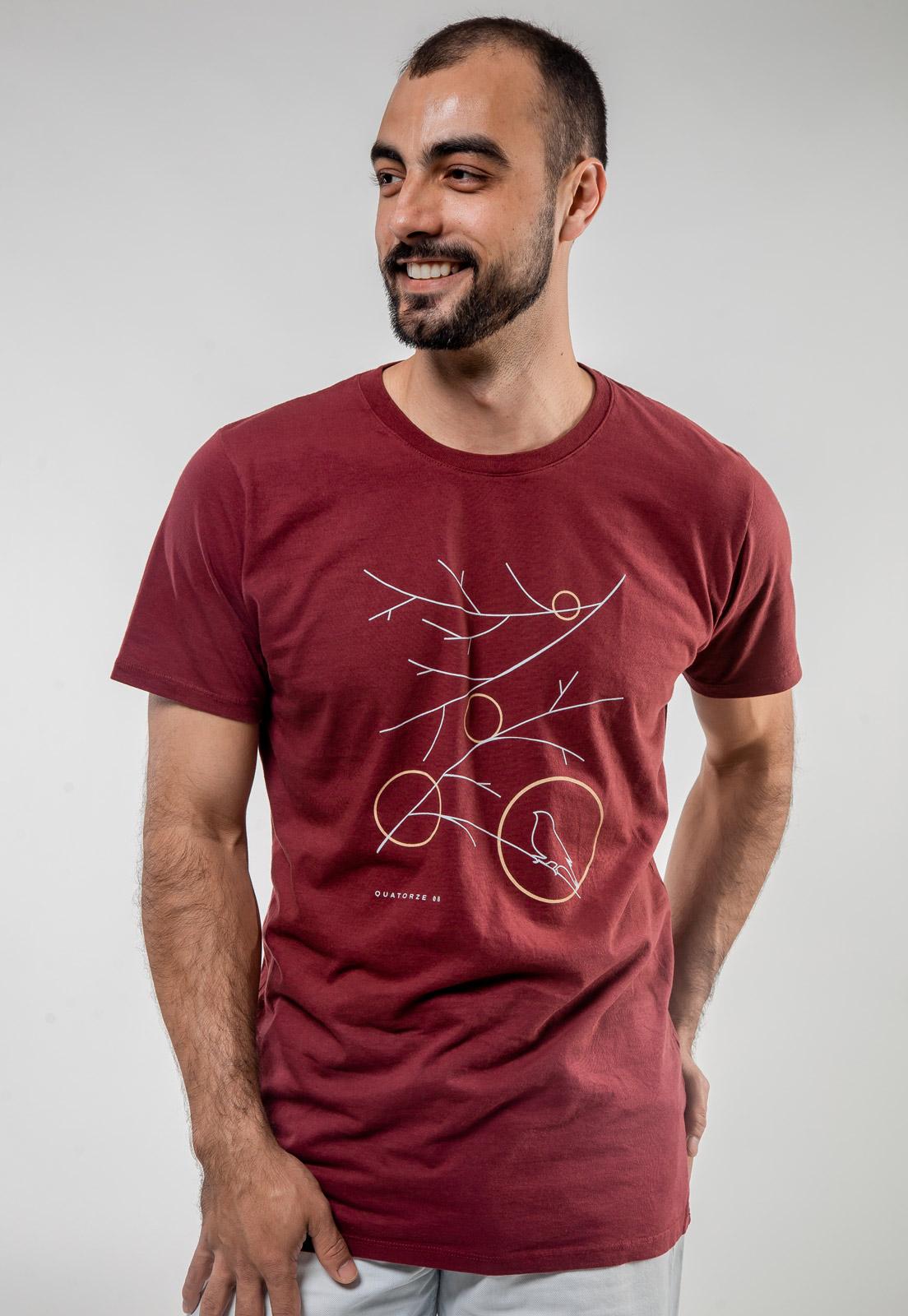 Camiseta Bordô de Algodão Galhos Secos