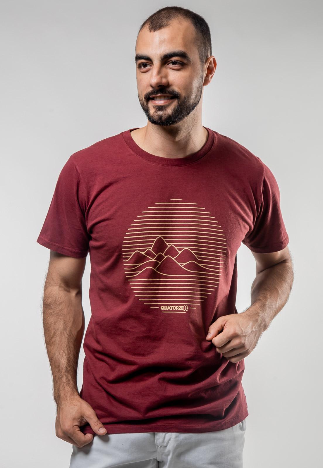 Camiseta Bordô de Algodão Linhas de Montanha
