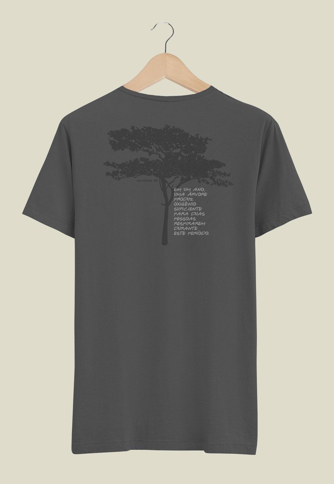 Camiseta Chumbo Estonada de Algodão Oxigênio da Árvore