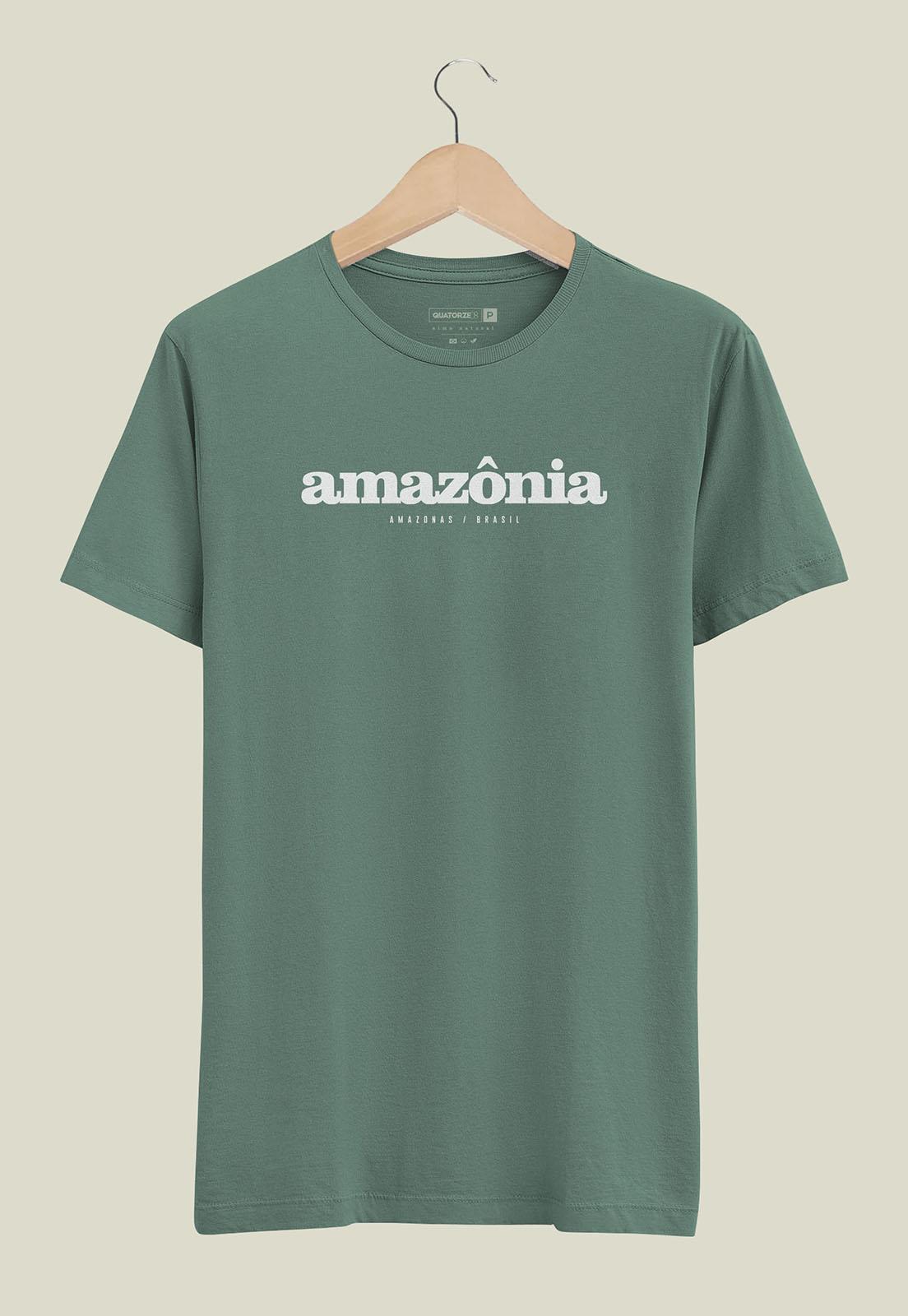 Camiseta Destinos Amazônia Verde Estonada