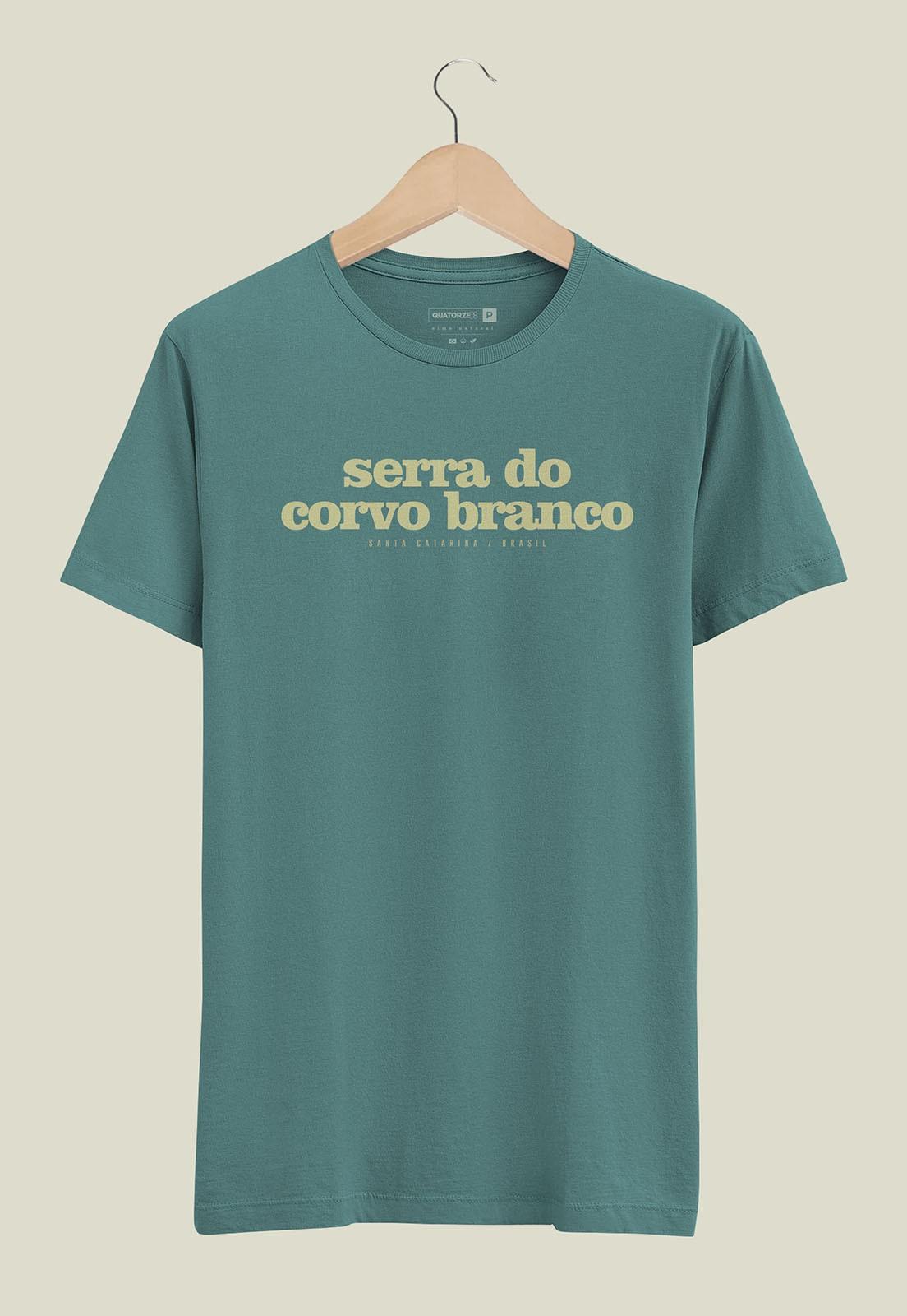 Camiseta Destinos Serra do Corvo Branco Verde Escuro Estonada