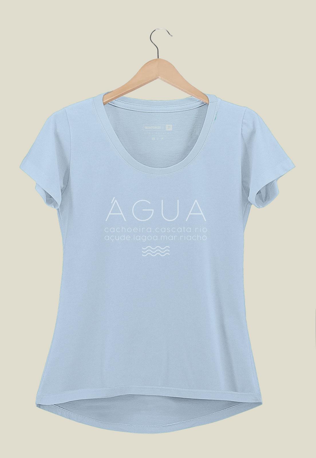 Camiseta Feminina Água Azul Claro
