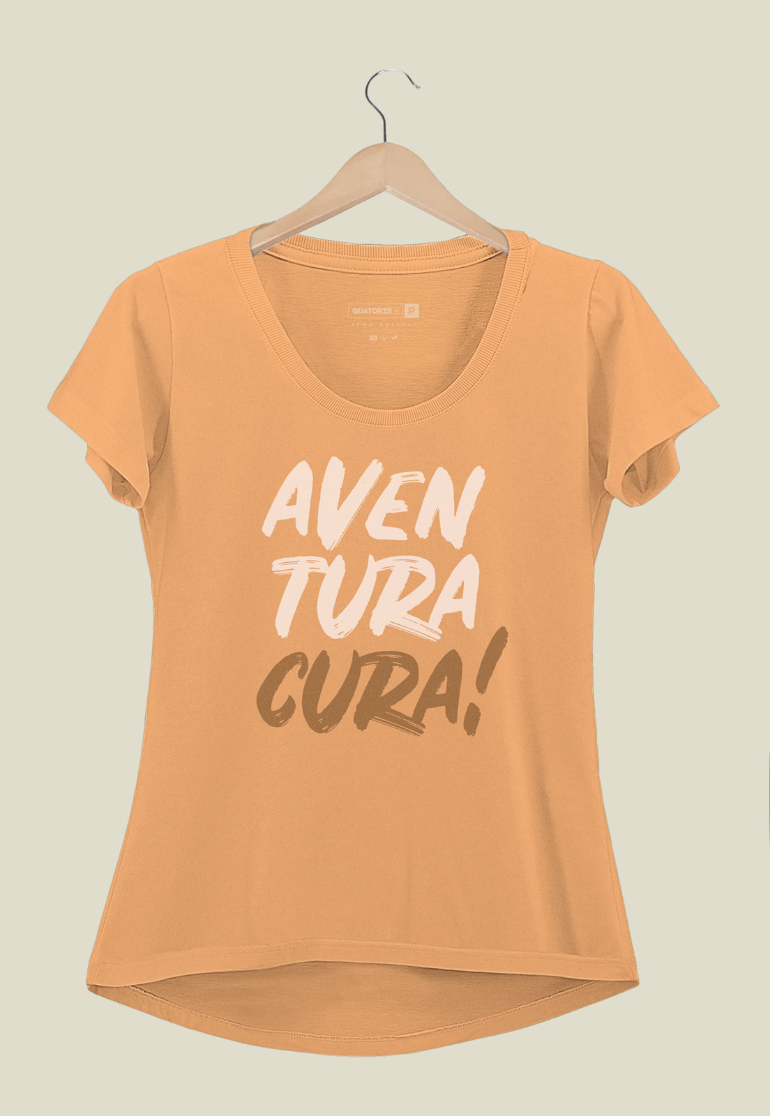 Camiseta Feminina Aventura Cura Laranja
