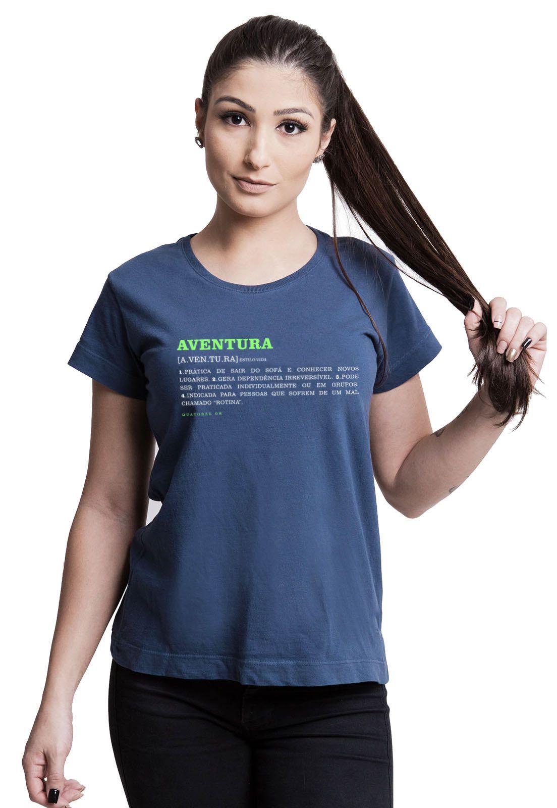 Camiseta Feminina Aventura Dicionário Azul