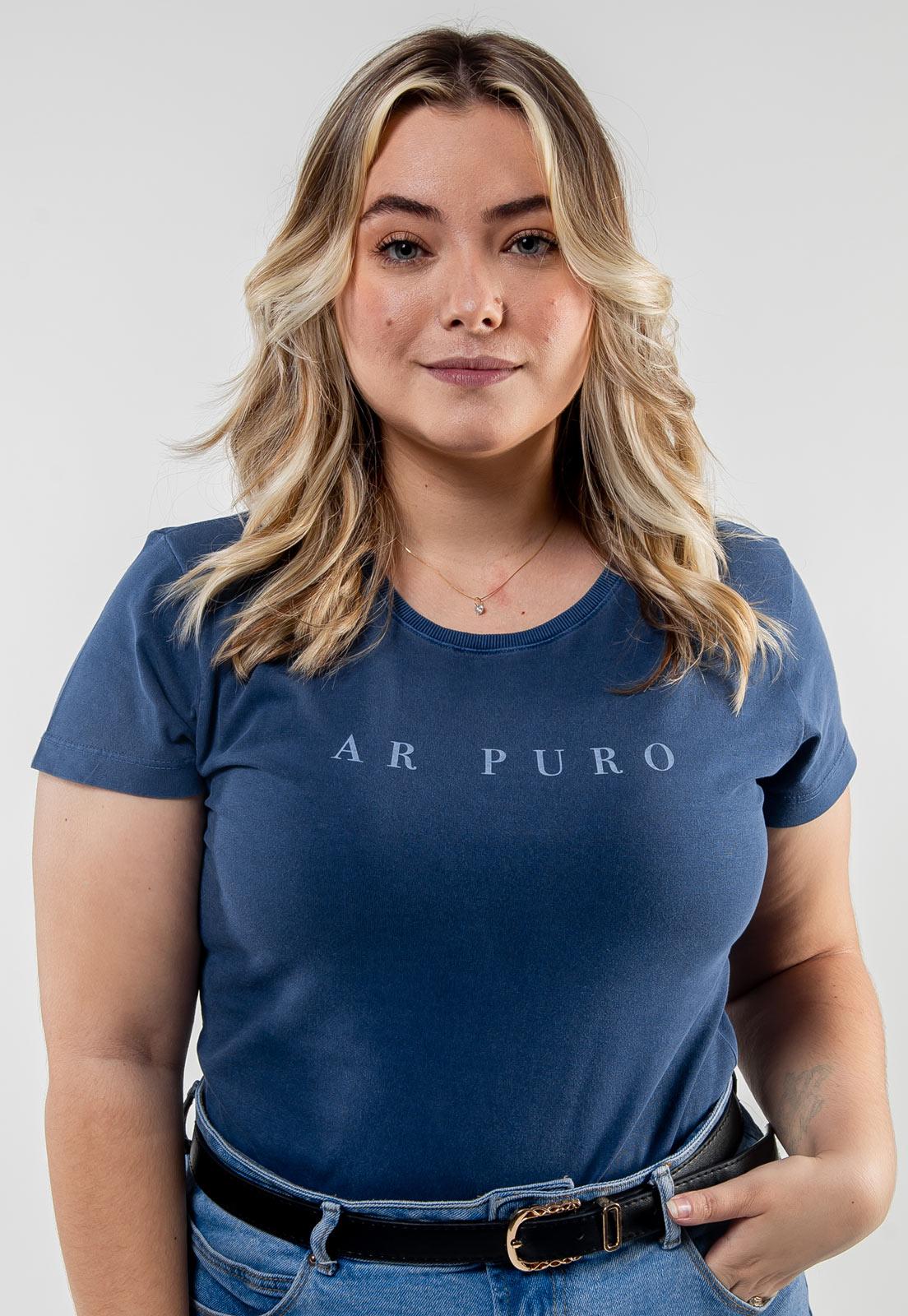 Camiseta Feminina Azul Escuro Estonada de Algodão Ar Puro