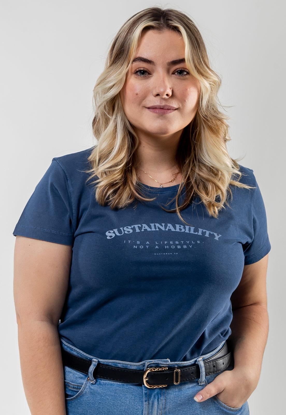 Camiseta Feminina Azul Escuro Estonada de Algodão Sustainability