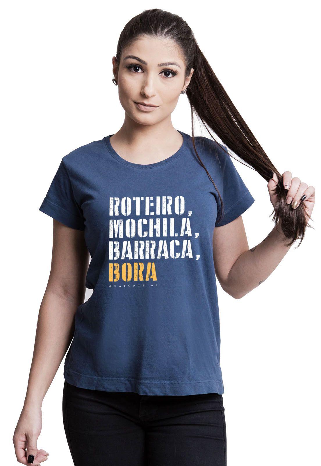 Camiseta Feminina Barraca e Bora Azul Marinho