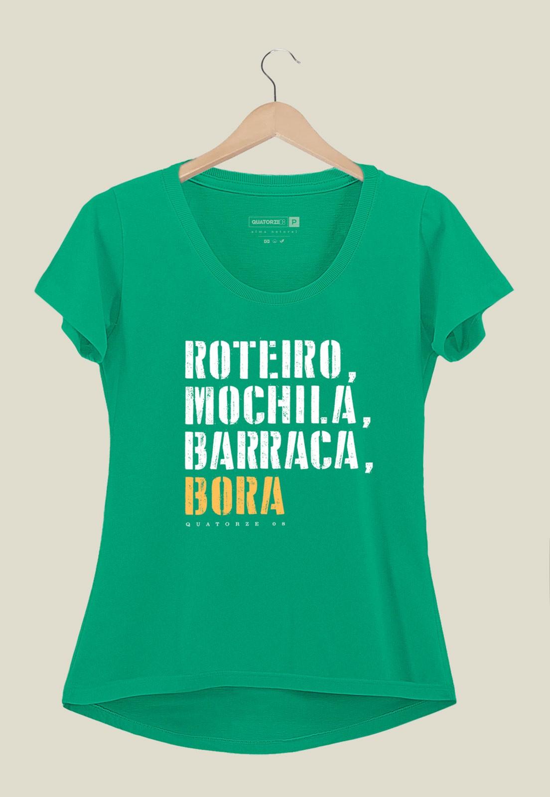 Camiseta Feminina Barraca e Bora Verde Médio
